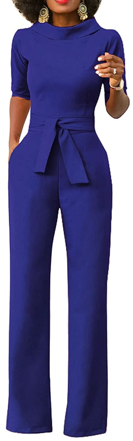 194c2e7f56c Please Refer To The Size Information In The Product Description to Choose  Size. Half Sleeve£¬High Waist£¬Wide Leg Long Pants£¬Jumpsuit Romper With  Belt