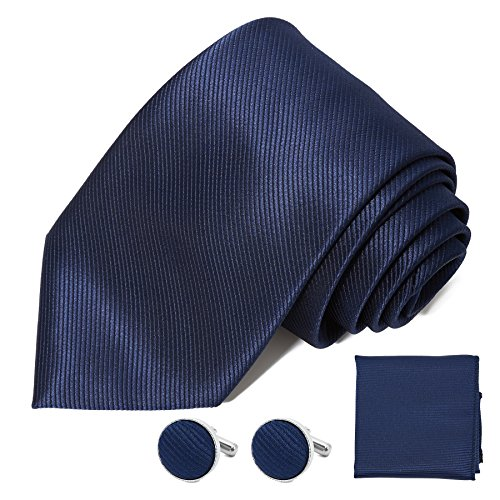 DEVPSISR Solid Satin Wide Tie Pocket Square Cufflinks Men Neckties Suit Accessories Formal set For Men (Dark Blue)