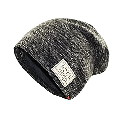 Infgreate Stylish Warm Hat Hip Hop Cap Winter Solid Color Beanie ROCK Patch Fleece Lining Casual Men Hat