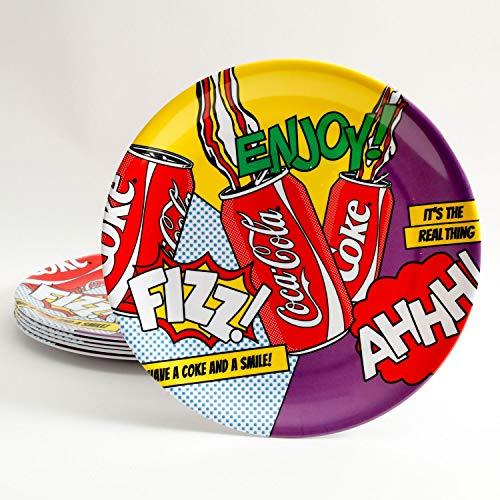 Coca Cola Pop Art 6 Pack 10.5 Inch Dinner Plate Set