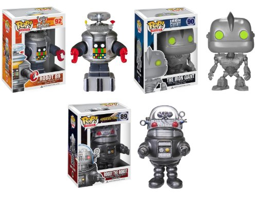 THE ROBOTS - SET OF 3 FUNKO ROBOTS - FORBIDDEN PLANET'S ROBBY, THE IRON GIANT & B9 FROM LOST IN SPACE
