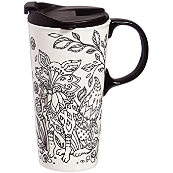 cypress home forest friends fox coloring book ceramic travel coffee mug 17 ounces - Fox Coloring Book