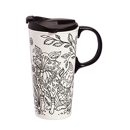 Cypress Home Forest Friends Fox Coloring Book Ceramic Travel Coffee Mug, 17 ounces