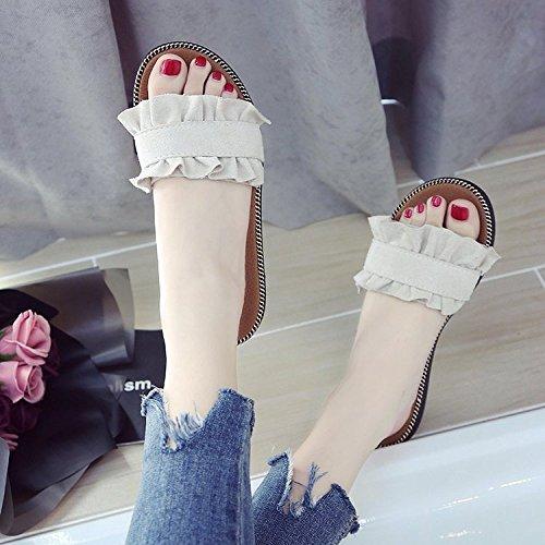 Et De Plates De Sandales Sandales Plat Sauvage GUANG Portez Femmes Tongs XING Nouvel Sandales Dentelle De Été Black De des des Pantoufles avec De Sandales des qIx6HUqwY