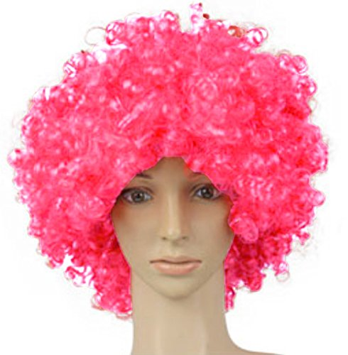 RUA Afro Curly Clown 70s Wig Halloween Football Fan Cosplay Wigs (Pink)
