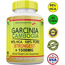 Strongest 1500MG 100% Pure 95% HCA Extract Garcinia Cambogia Capsules Extreme Fat Burner for Weight Loss & Appetite Suppressant. All Natural Slim Pills by Ultra Premium Plus