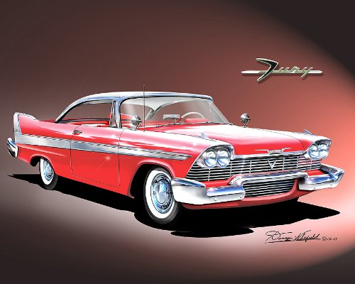 - 1958 PLYMOUTH FURY-KIGHT RED CAR ART PRINT POSTER- SIZE 16 X 20