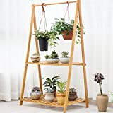Cyanbamboo Bamboo Folding Plant Rack Flowerpot Hanging Rack Shelf Bamboo Clothes Storage Rack Garment Shelf (L:27.6 W:16.9 H:50.8 inch)