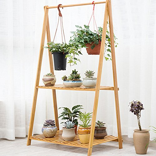 Cyanbamboo Bamboo Folding Plant Rack Flowerpot Hanging Rack Shelf Bamboo Clothes Storage Rack Garment Shelf (L:27.6 W:16.9 H:50.8 (Bamboo Plant Stand)