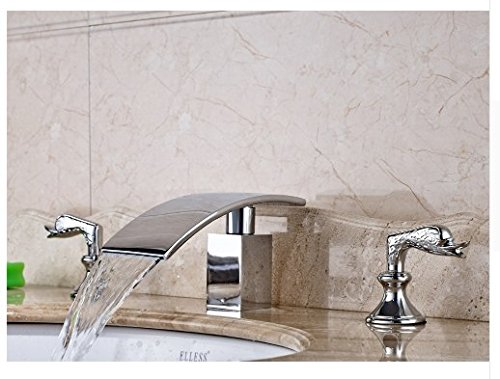 Gowe Bathroom Sink Faucet With Dual Handles Widespread 3pcs Waterfall Spout Mixer Tap Chrome Polished 2