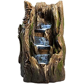 Amazon Com 22 Quot Cypress Log Indoor Outdoor Water Feature