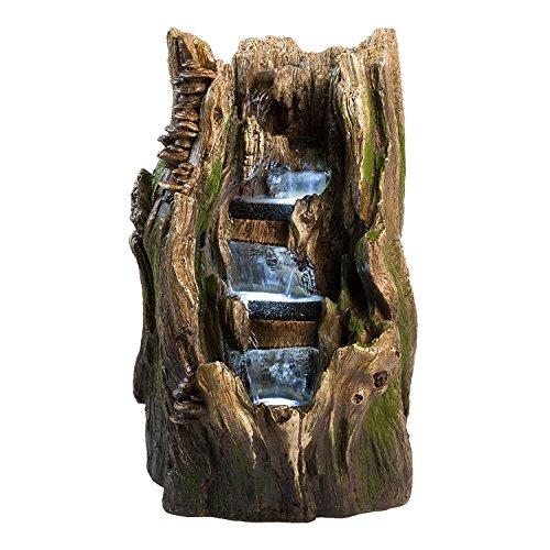 """22"""" Cypress Log Indoor/Outdoor Water Feature: Tiered Gard..."""