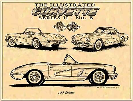 Corvette C1 Print Corvette C1 Man Cave Decor Car Wall Art Garage Wall Art Vintage Car Photography Classic Sports Car