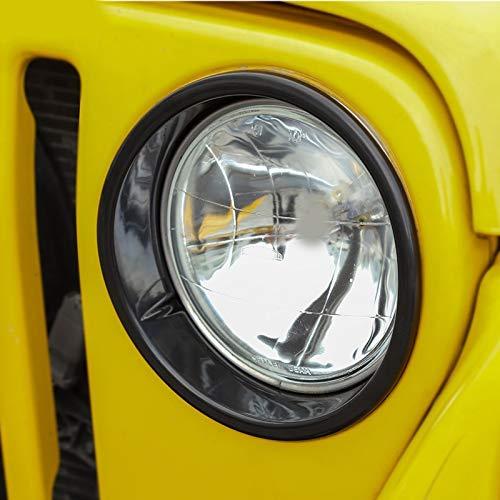 Jeep Wrangler TJ Headlight Bezels Black Cover Guard for 1997-2006 Wrangler TJ /& TJU