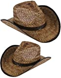 New Men's Women's Stained Brown Woven Straw Cowboy Hat (2 pack)