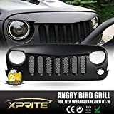 Xprite Front Matte Black Angry Bird Grille Grid Grill with Mesh Insert for Jeep Wrangler Rubicon Sahara Sport Jk 2007-2017