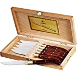 Laguiole 6 Piece Luxury Maple Wood Stainless Steel Steakhouse Knive Set in Wooden Case