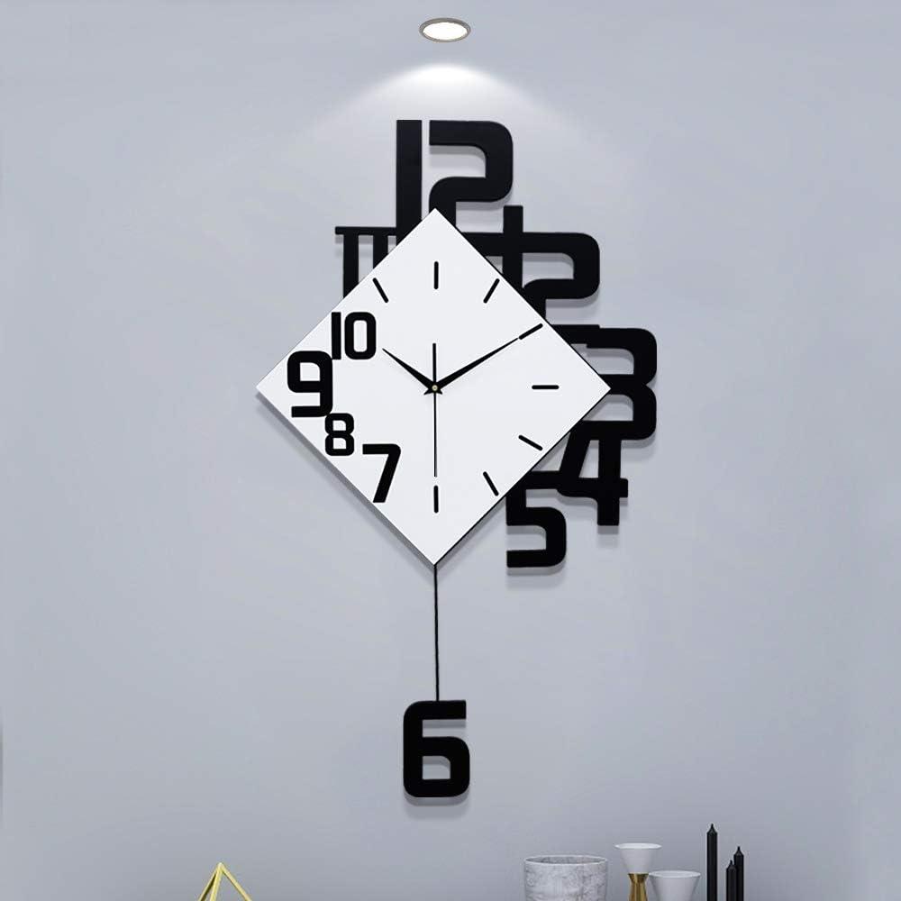 Fleble Large Wall Clocks for Living Room Decor Pendulum Wall Clocks Silent Irregular Digital Fashion Design Wood Home Decoration for Bedroom Kitchen Office School 25.2inch