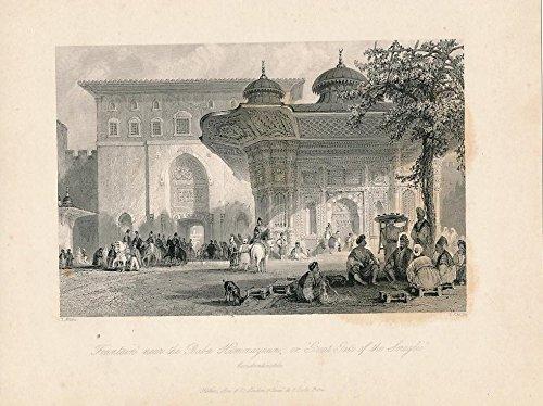 Fountain near Gate of Seraglio Turkey Constantinople ca. 1850 vintage view - Fountain Gate Map