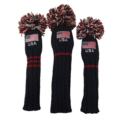 Sunfish Knit Wool Headcover Set of 3 - Driver 3wood Hybrid Old Glory USA Flag -