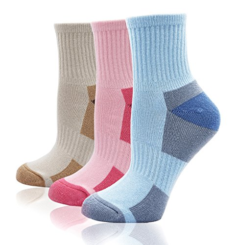 Women's Athletic Ankle Quarter Cushion Socks Thick Cotton Padded Mini Crew Socks for Hiking Trekking Tennis Running Fitness