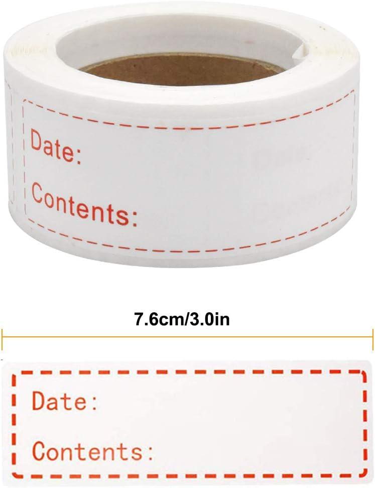 Stoccaggio Cibo Etichette Etichette rimovibili Impermeabili per Indirizzi,Piccolo Nome,Barattoli,contenitori riutilizzabili 300Pezzi Congelatore Etichette Data Adesivi HQdeal Etichette Adesive