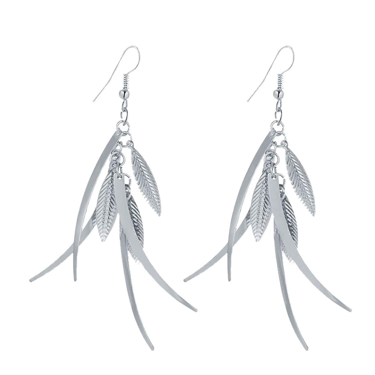 IDB Delicate Filigree Dangle Triple Feather Drop Hook Earrings Available in Silver and Gold Tones