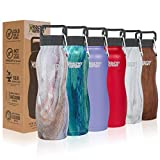 Healthy Human Stainless Steel Vacuum Insulated Curve Water Bottles | Keeps Cold 24 Hours, Hot 12 Hours | Double Walled Water Bottle | Carabiner and Hydro Guide | 21 oz Mirage Healthy Human