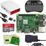 Viaboot Raspberry Pi 3 B+ Deluxe Kit — Official 32GB MicroSD Card, Official Raspberry Pi Foundation Red/White Case, Backlit Keyboard Edition