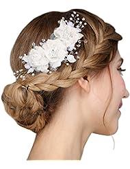 faybox handmade bridal silk flower hair clips with beads