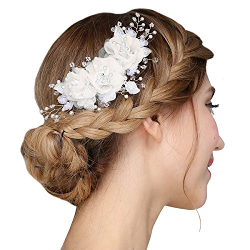 FAYBOX Handmade Bridal Silk Flower Hair Clips With Beads and Simulated Pearl Wedding Bridesmaid Accessories