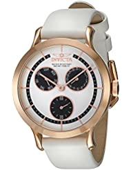 Invicta Womens Angel Quartz Gold-Tone and Leather Dress Watch, Color:White (Model: 22498)