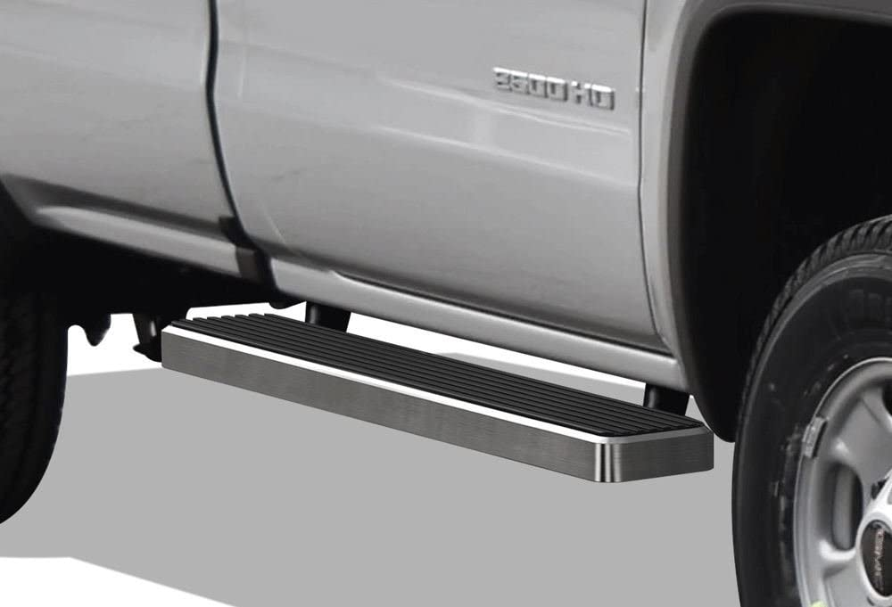 APS iBoard Running Boards 4 inches Matte Black Custom Fit 1999-2016 Chevy Silverado GMC Sierra Regular Cab Exclude CK Classic Nerf Bars Side Steps Side Bars