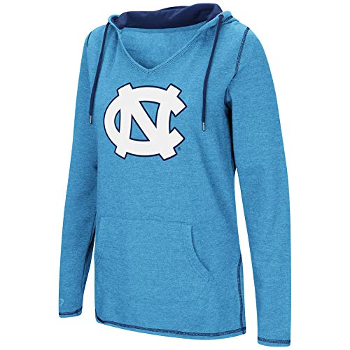 Colosseum Women's NCAA-Scream It!- Dual Blend-Fleece V-Neck Hoodie Pullover Sweatshirt-North Carolina Tar Heels-Carolina Blue-Small (North Carolina Tar Heels String)
