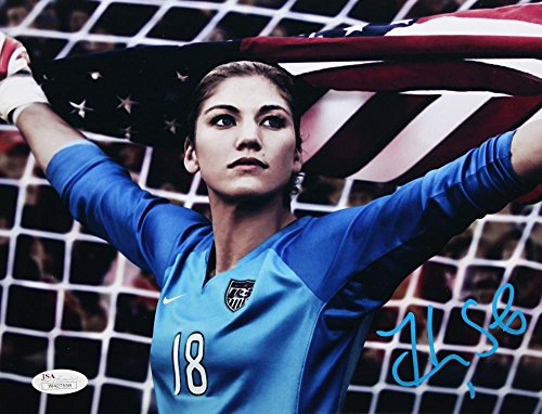 hope-solo-autographed-8x10-team-usa-holding-flag-photo-jsa-witnessed-auth