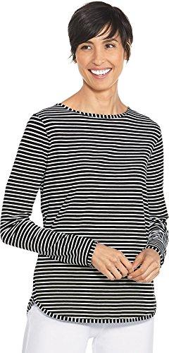 Coolibar UPF 50+ Women's Side Split Shirt - Sun Protective (Medium- Fine Black/White (Fine Stripe Shirt)