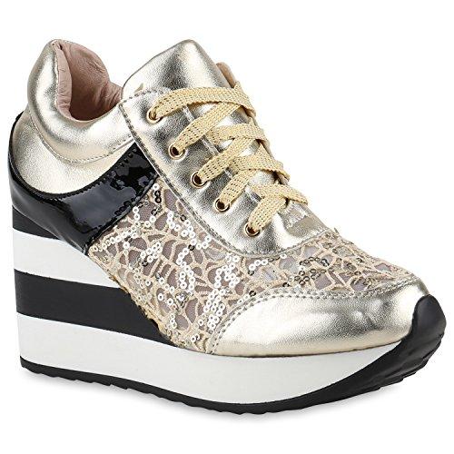 Stiefelparadies Damen Sneaker Wedges Sportschuhe Schnürer Lack Glitzer Turnschuhe Keilabsatz Schuhe Metallic Freizeitschuhe Flandell Gold Pailetten