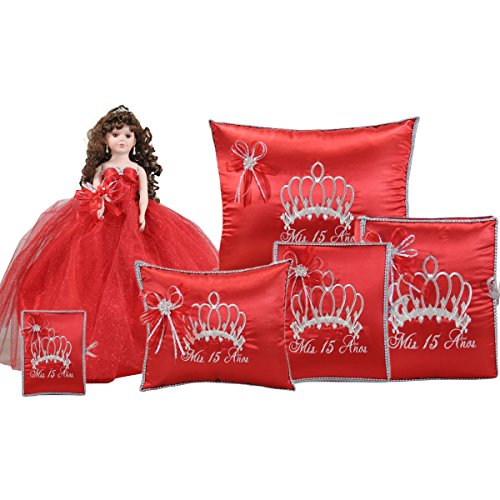Quinceanera Complete Set Doll Guest Book Kneeling Tiara Pillow Photo Album Bible Q1051 (Basic set + Spanish Bible) by Quinceanera
