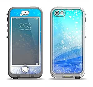 The Abstract Light Blue Scattered Snowflakes Apple iPhone 5s LifeProof Nuud White Case and Skin Set (White LifeProof Case Included!)