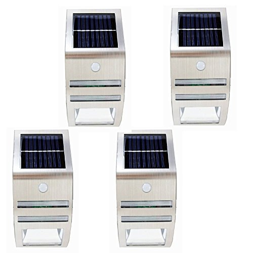 4-Pack Solar Power Outdoor Stainless Steel Motion Sensor / Detector Security 2 SMD LED Wall Light