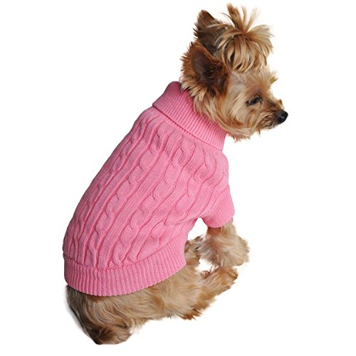- Doggie Design Combed Cotton Cable Knit Dog Sweater - Candy Pink