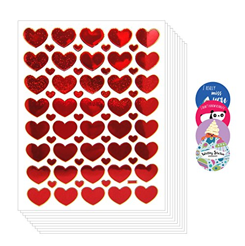 Confession Box Costume (Fun Red Rose Heart Stickers Glitter Set Labels [Super Save 10 sheets])