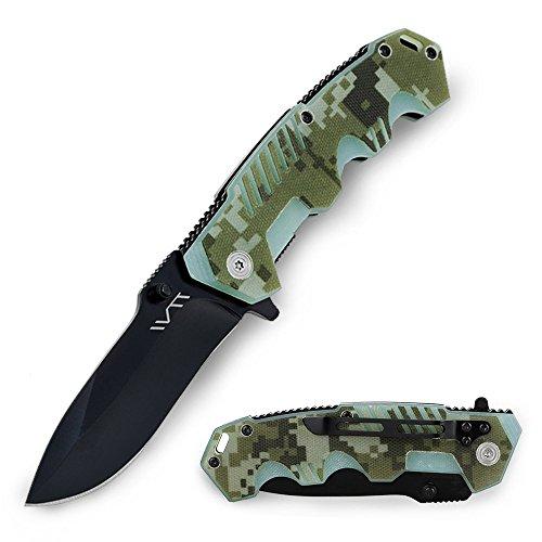 (BGT Folding Pocket Knife 3.4 Inch Drop Point Blade and G10 Handle Hunting Survival Tool Knives Carry Velvet Bag, Sharpener)
