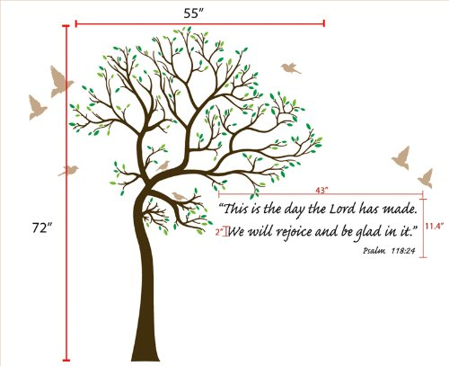 6ft Tree Brown & Green with Bird Wall Decal + Bible Verse Lettering Deco Art Sticker Mural - This Decal is Created By Digiflare Graphics, Original Product with Quality 100% Guaranteed!!!