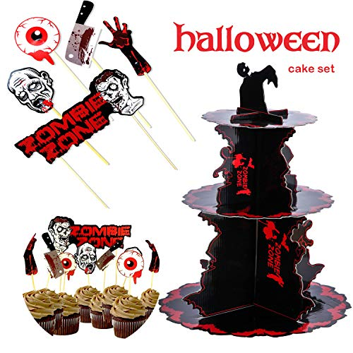 Halloween Zombie Party Cardboard Cupcake Display Stand & Bloody Toppers Cake Picks Table Dish Decoration Knit - Fruit Dessert Paper Cupcake Stick Decor, Cupcake Holder for Kids Birthday Themed Party