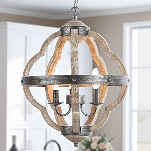 KSANA Orb Chandelier for Dining Rooms,15 Globe Pendant Light Distressed Wood Farmhouse Style for Kitchen Island,Foyer, White