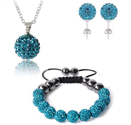 Bharatanatyam Costumes Blue - AdamEva Factory - Crystal Shamballa Disco Balls Sets Jewelry Set [Necklaces Pendants / Bracelet / Earring Studs] (Blue)