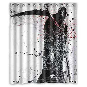 """Cool And Horror Anime Design Death Black And Red Shower Curtain 60""""x72"""" Inches 100% Waterproof Polyester Fabric Fitted Bathroom Shower Curtain,Shower Rings Included"""