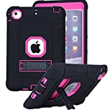 iPad Mini 2 Case, iPad Mini 3 Case, iPad Mini Case, Asstar [Kickstand Feature] 3in1 Hybrid Hard PC Soft Silicone [Kids Friendly] Shockproof High Impact Combo Defender for iPad Mini 1/2/3 (Black Pink)