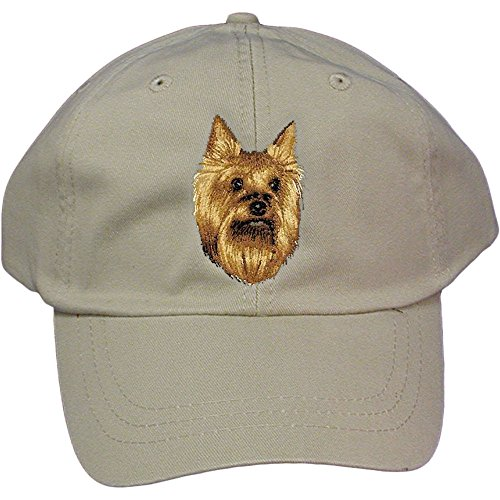 Cherrybrook Dog Breed Embroidered Adams Cotton Twill Caps - Stone - Yorkshire Terrier (Terrier Embroidered Cap)